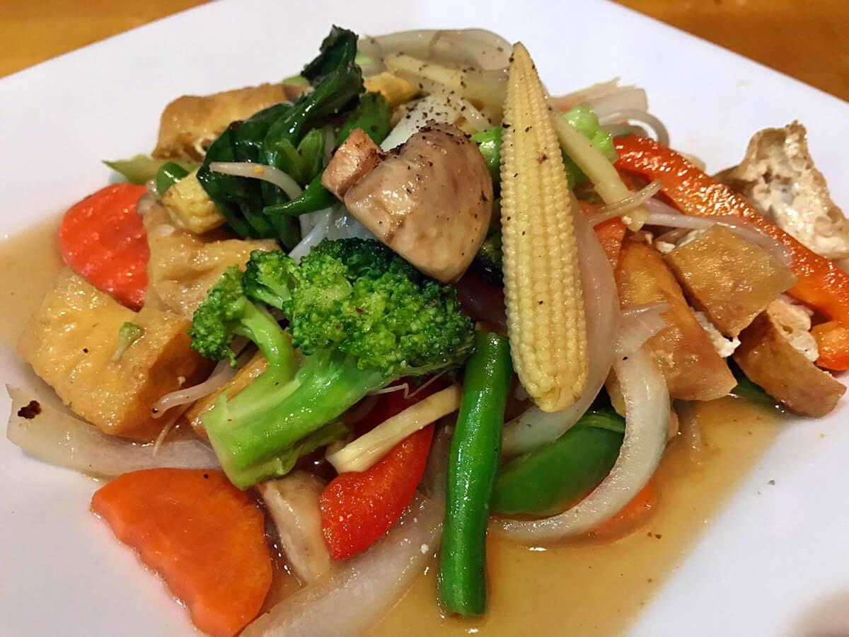 Vegan mixed vegetables stir fry